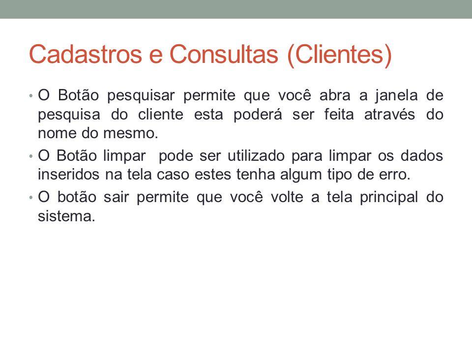 Cadastros e Consultas (Clientes)