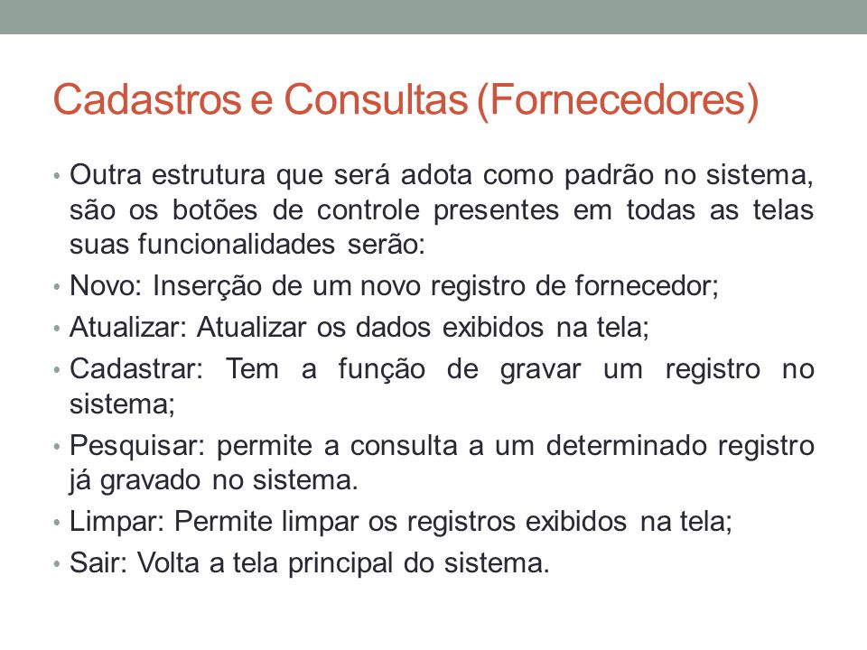 Cadastros e Consultas (Fornecedores)