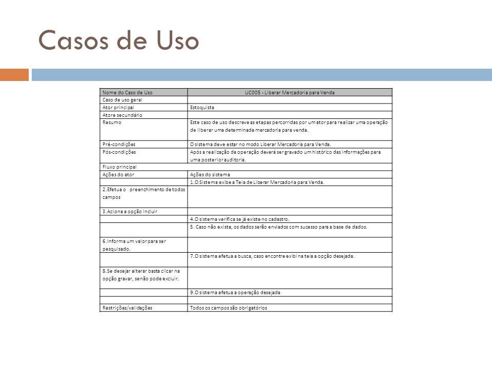UC005 - Liberar Mercadoria para Venda