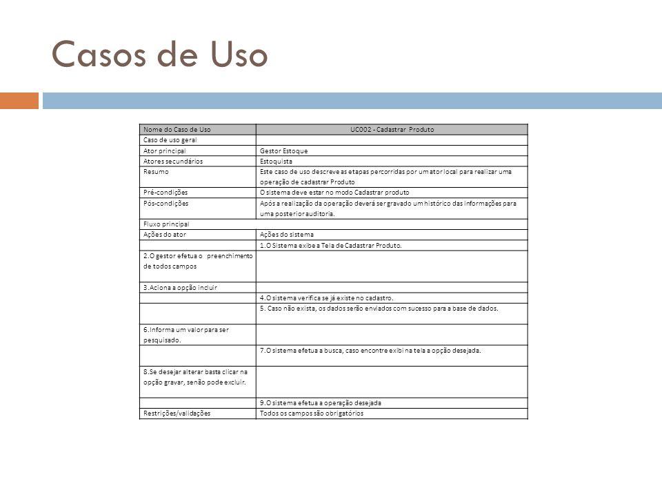 Casos de Uso Nome do Caso de Uso UC002 - Cadastrar Produto