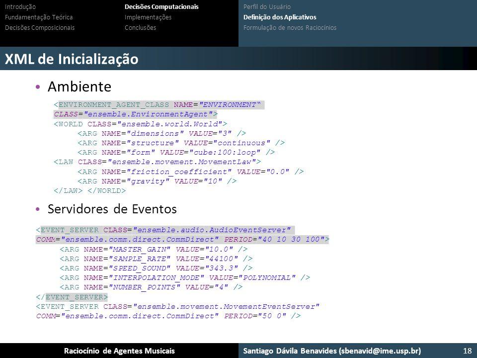 XML de Inicialização Ambiente Servidores de Eventos