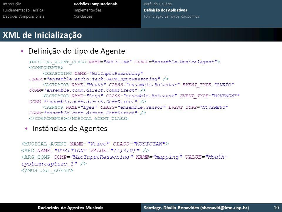 XML de Inicialização Definição do tipo de Agente Instâncias de Agentes