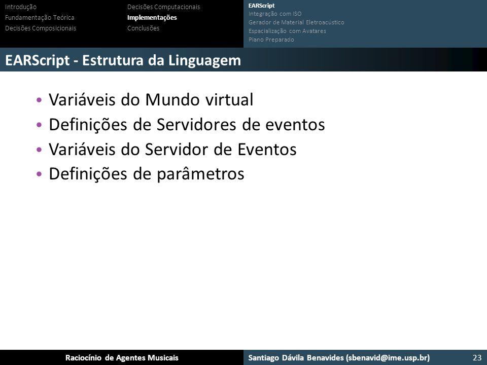 Variáveis do Mundo virtual Definições de Servidores de eventos
