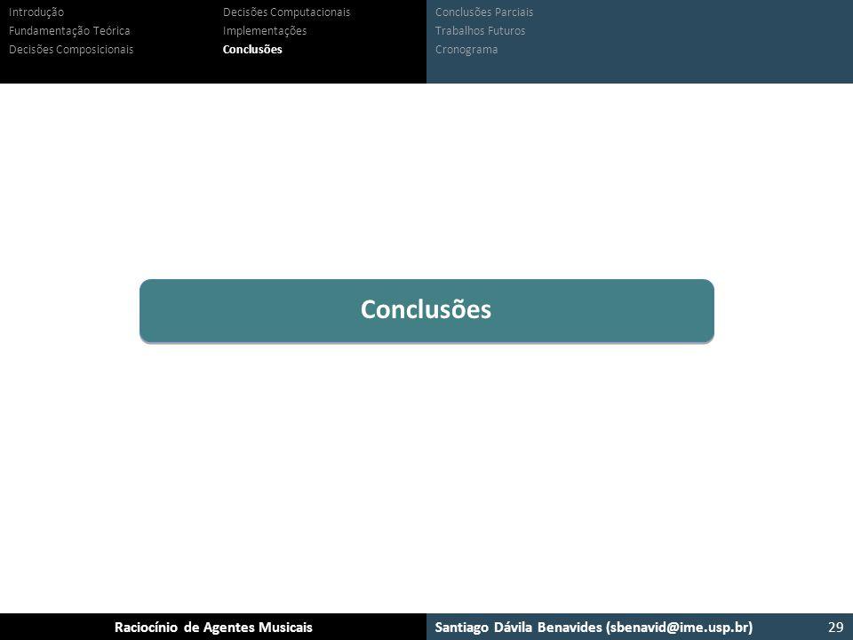 Conclusões Introdução Fundamentação Teórica Decisões Composicionais