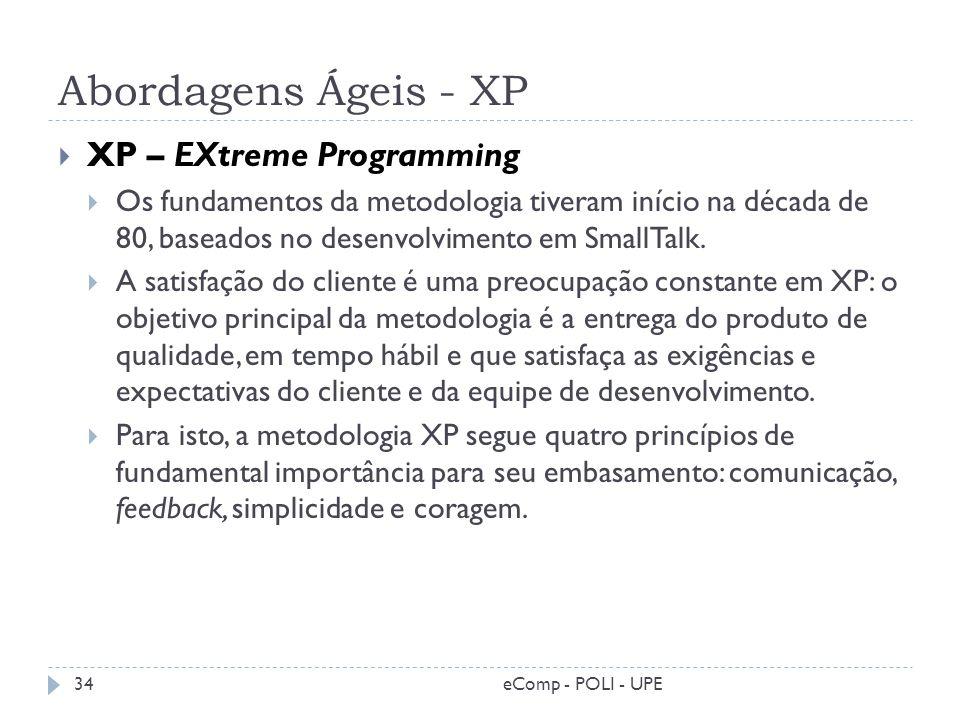 Abordagens Ágeis - XP XP – EXtreme Programming