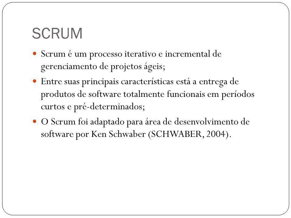 SCRUM Scrum é um processo iterativo e incremental de gerenciamento de projetos ágeis;
