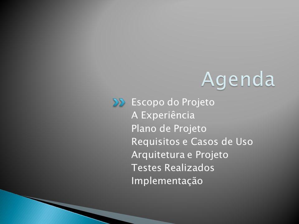 Agenda Escopo do Projeto A Experiência Plano de Projeto