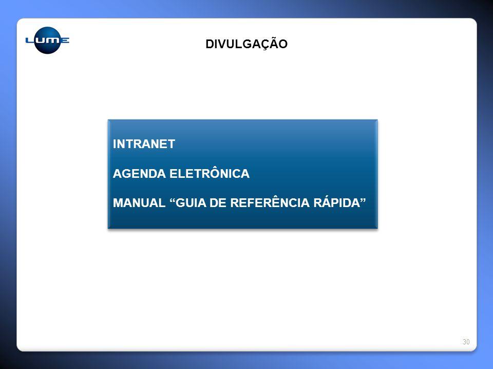 DIVULGAÇÃO INTRANET AGENDA ELETRÔNICA MANUAL GUIA DE REFERÊNCIA RÁPIDA