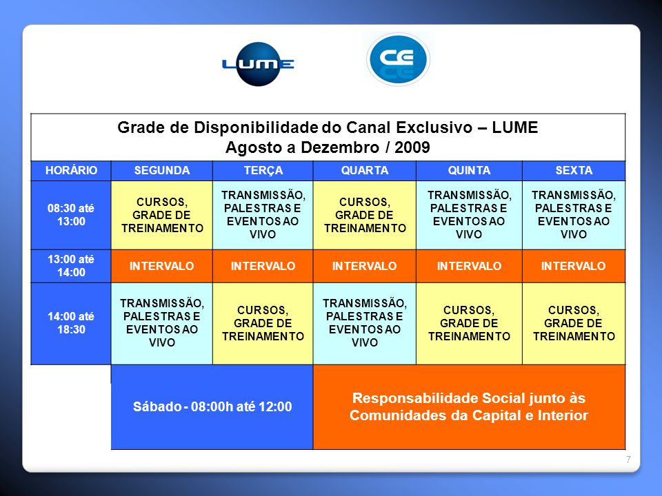 Grade de Disponibilidade do Canal Exclusivo – LUME