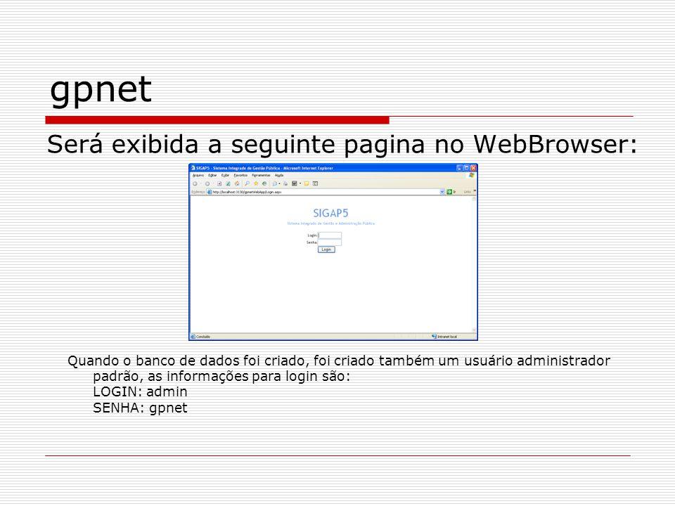 gpnet Será exibida a seguinte pagina no WebBrowser:
