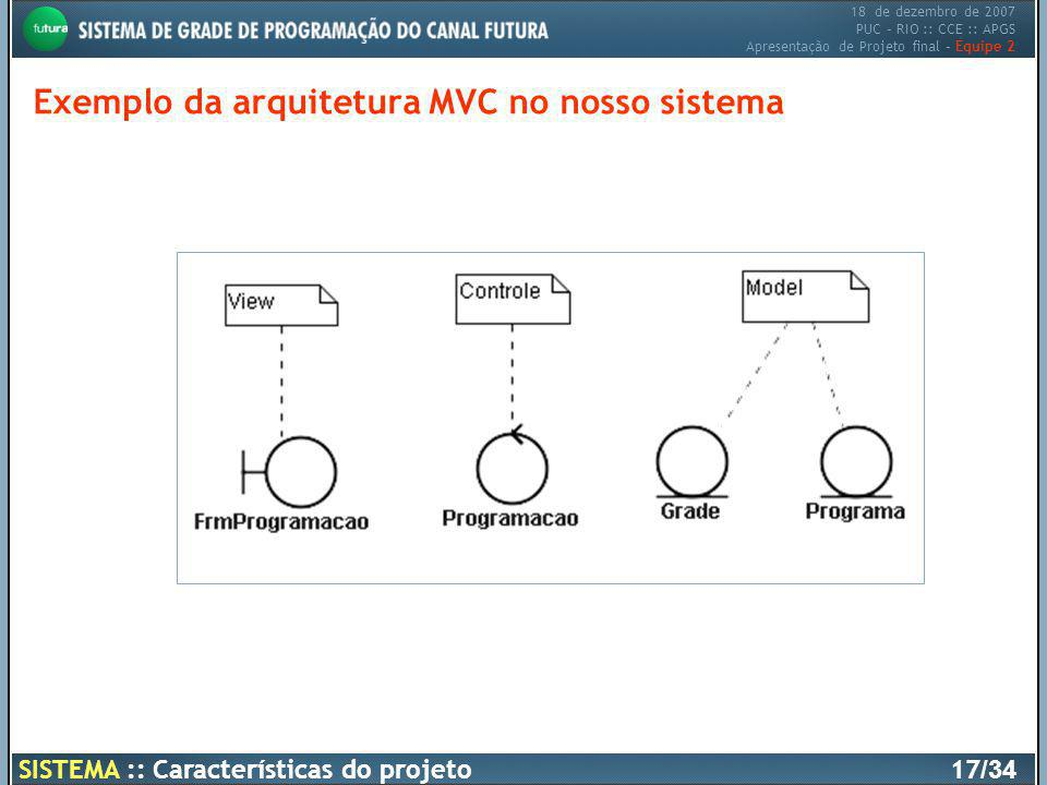 Exemplo da arquitetura MVC no nosso sistema