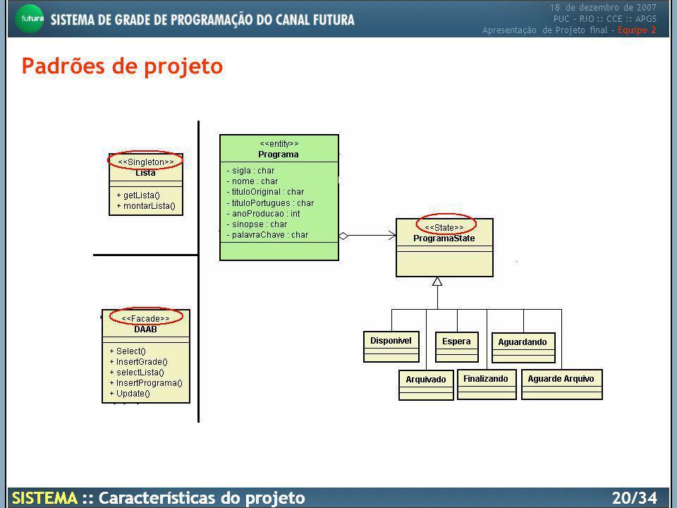 Padrões de projeto SISTEMA :: Características do projeto