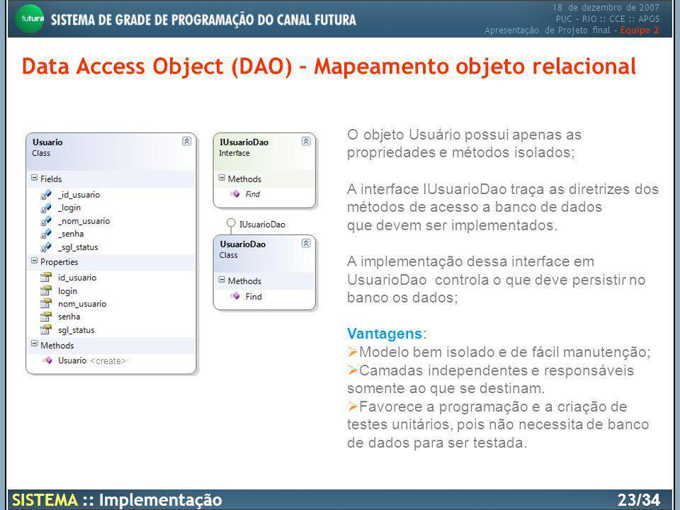 Data Access Object (DAO) – Mapeamento objeto relacional