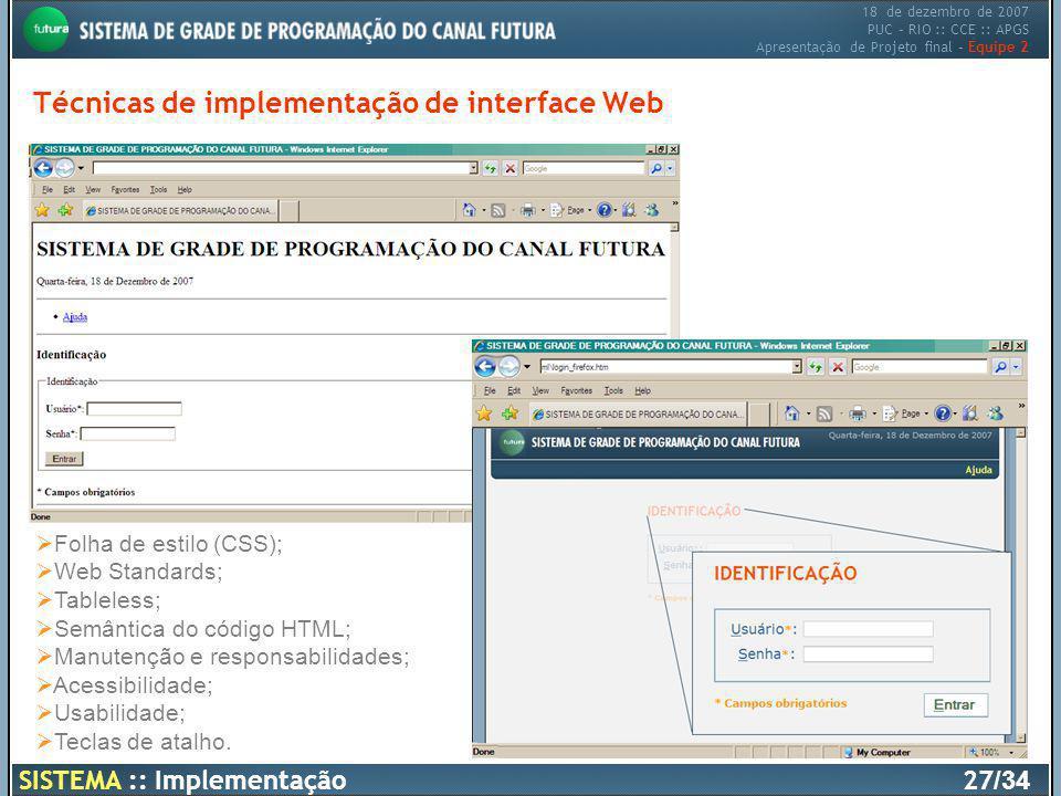 Técnicas de implementação de interface Web