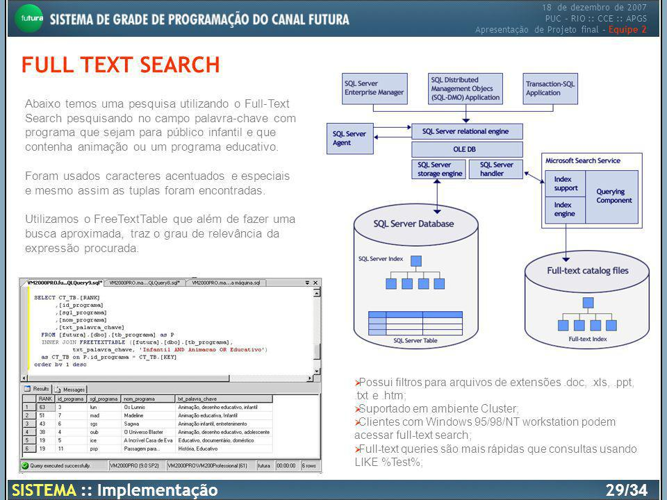 FULL TEXT SEARCH SISTEMA :: Implementação 29/34