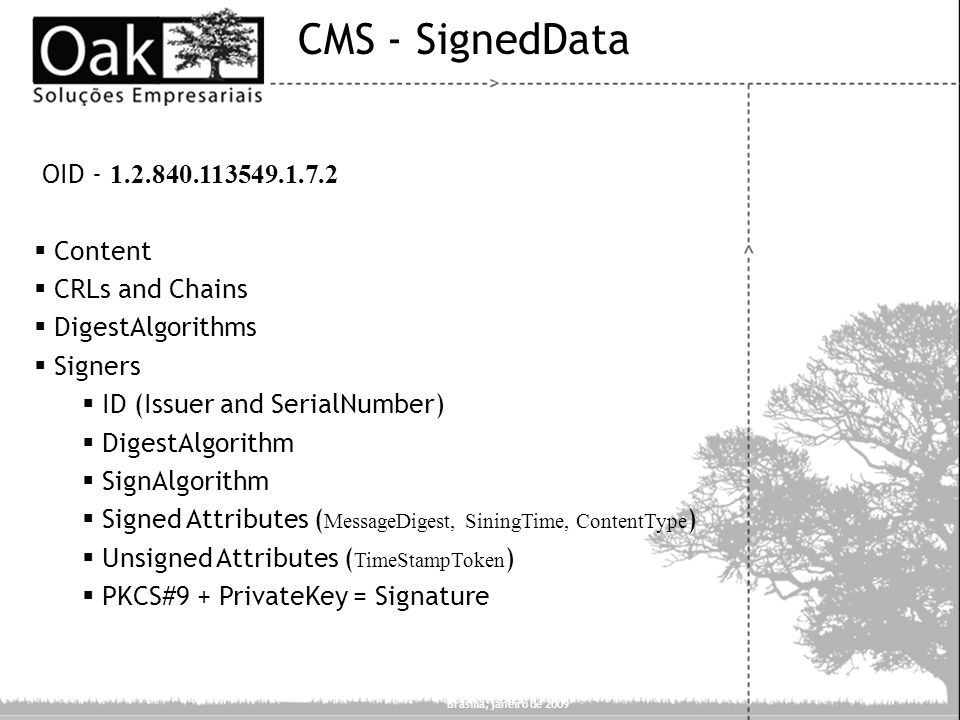 CMS - SignedData OID - 1.2.840.113549.1.7.2 Content CRLs and Chains