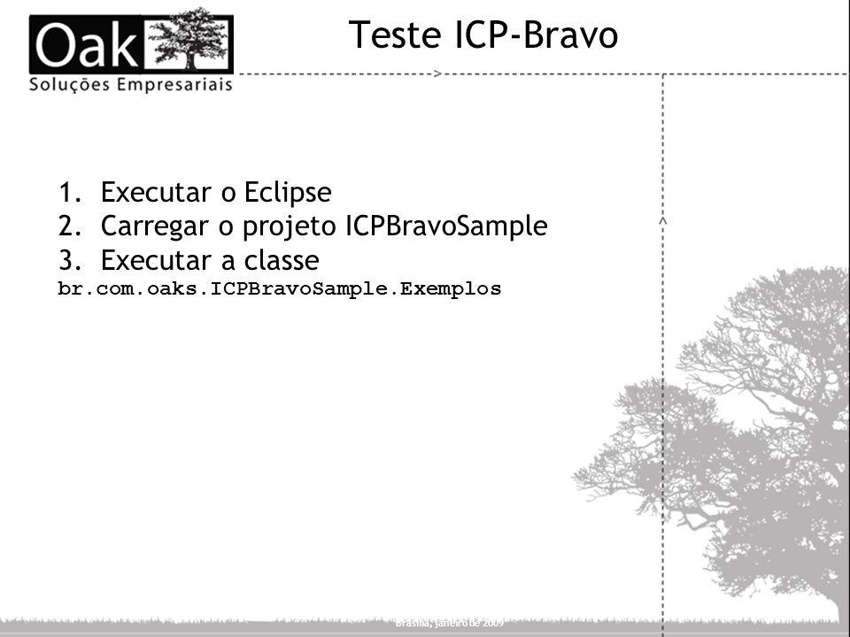 Teste ICP-Bravo Executar o Eclipse Carregar o projeto ICPBravoSample