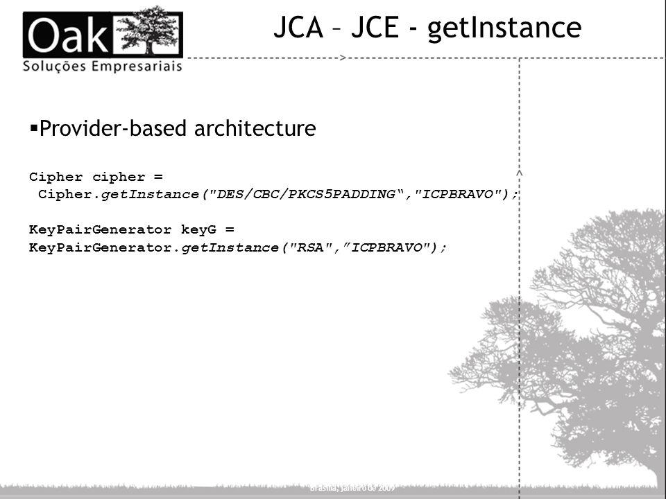 JCA – JCE - getInstance Provider-based architecture Cipher cipher =