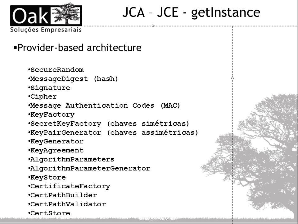 JCA – JCE - getInstance Provider-based architecture SecureRandom