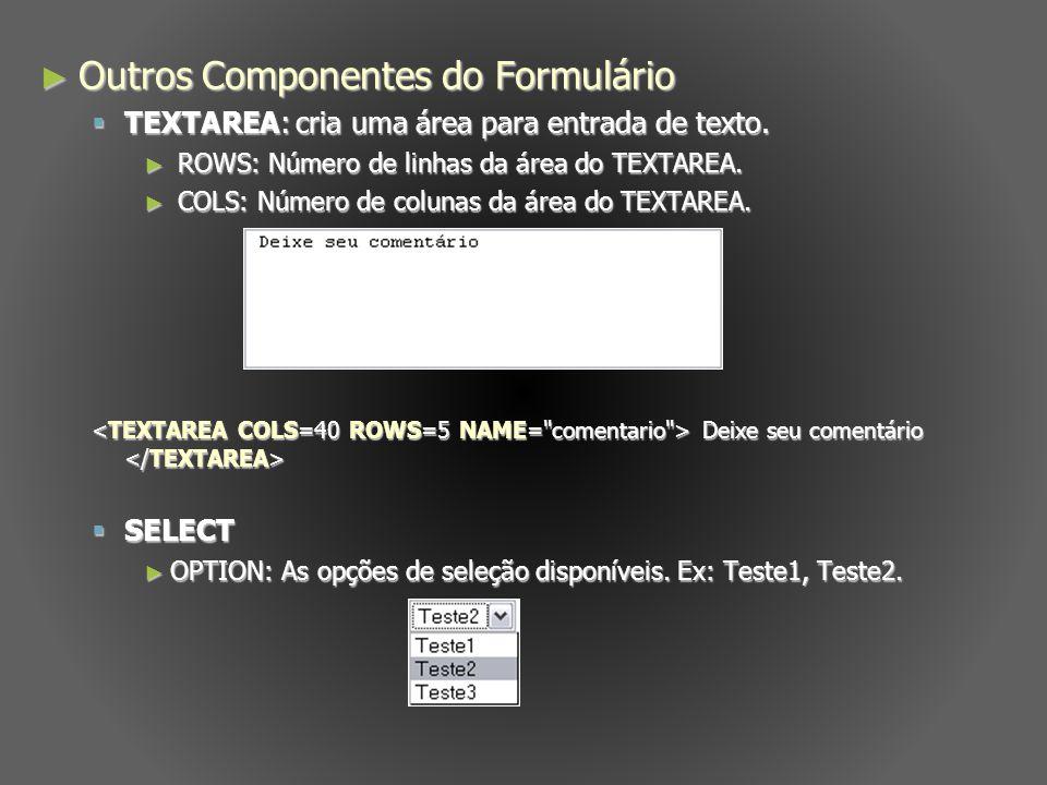 Outros Componentes do Formulário