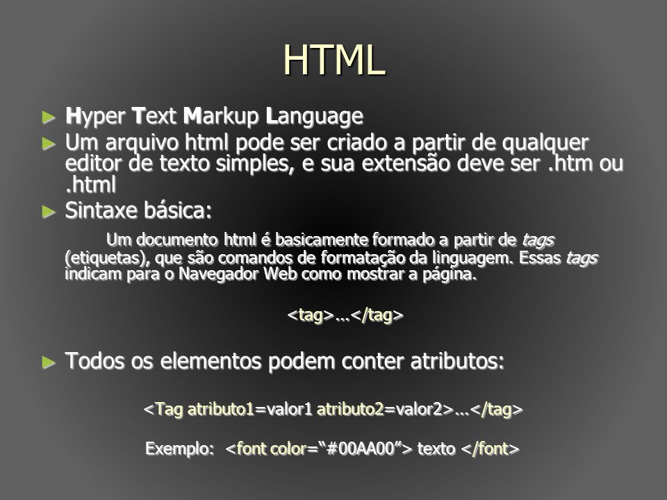 HTML Hyper Text Markup Language.