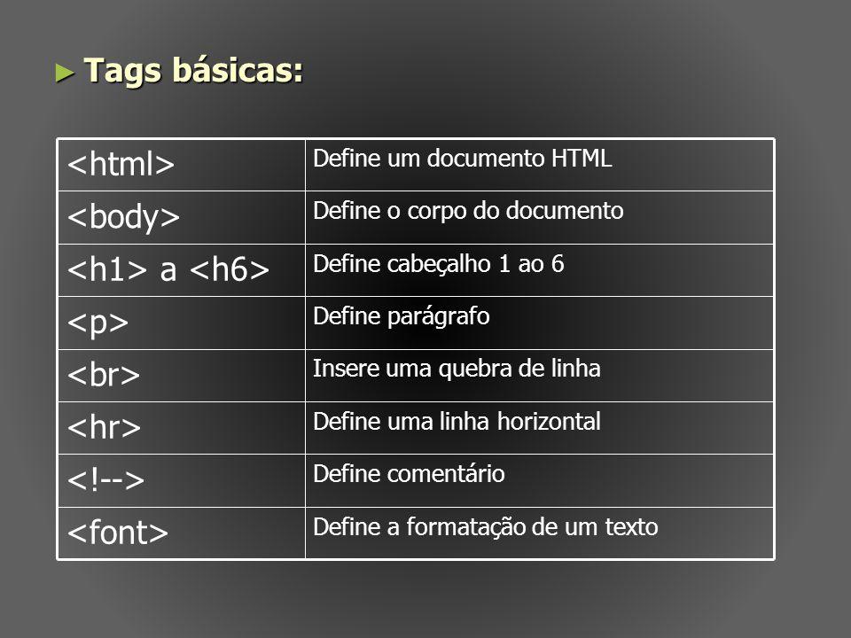 Tags básicas: <html> <body> <h1> a <h6>
