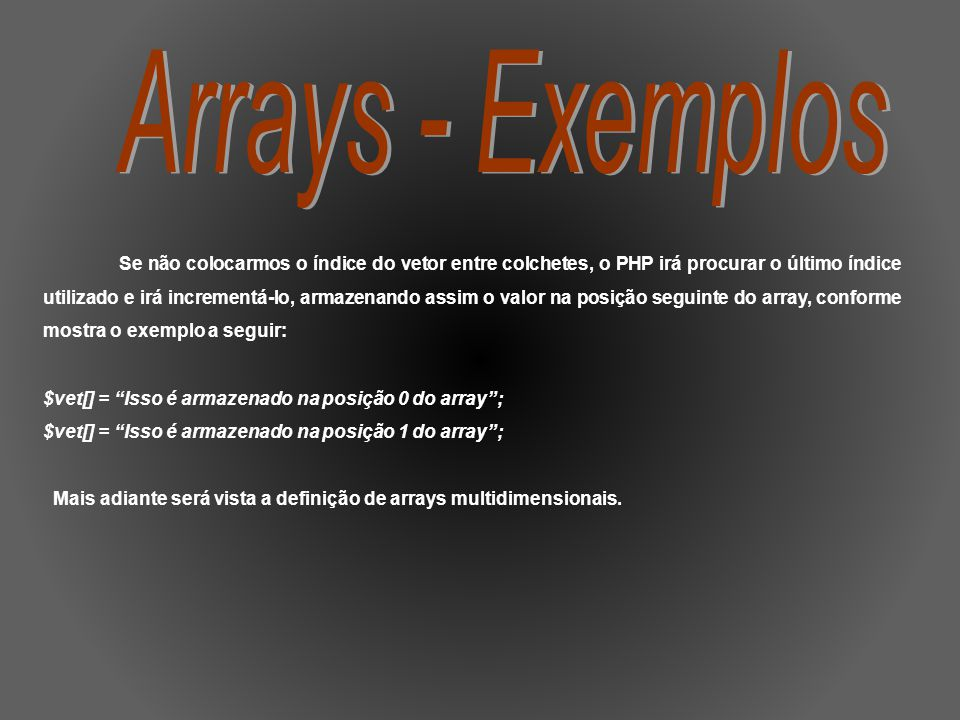 Arrays - Exemplos