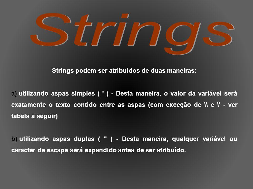 Strings podem ser atribuídos de duas maneiras: