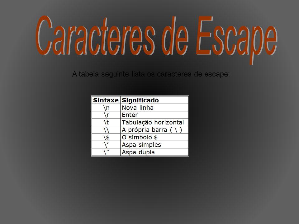 A tabela seguinte lista os caracteres de escape: