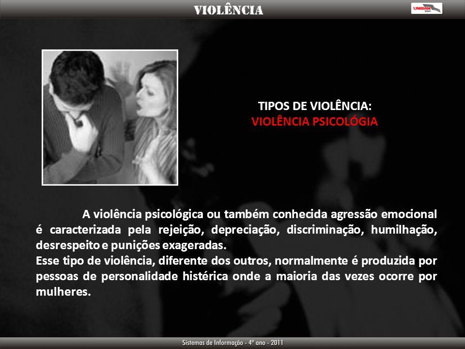TIPOS DE VIOLÊNCIA: VIOLÊNCIA PSICOLÓGIA.