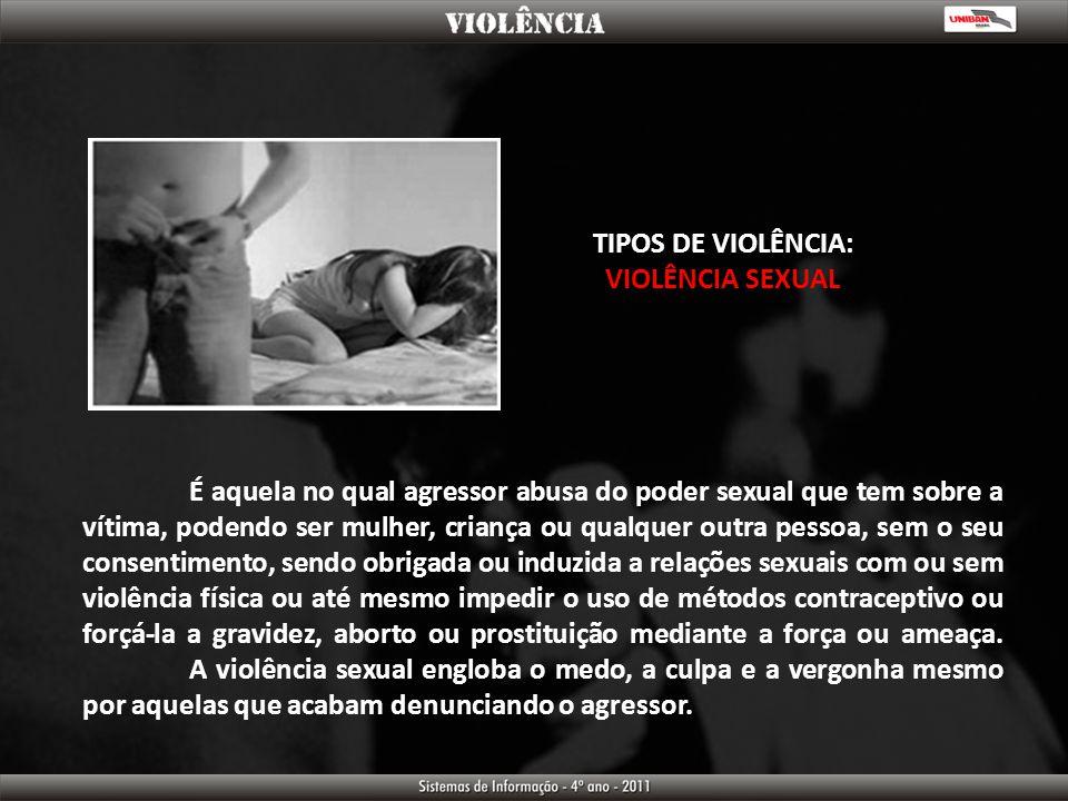 TIPOS DE VIOLÊNCIA: VIOLÊNCIA SEXUAL.
