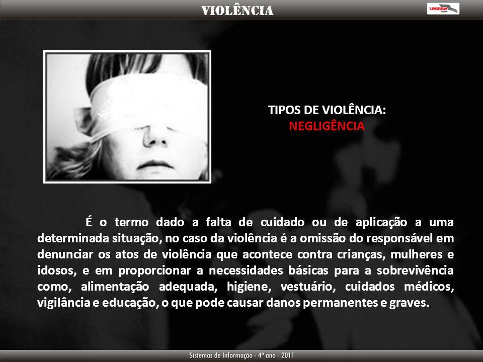 TIPOS DE VIOLÊNCIA: NEGLIGÊNCIA.