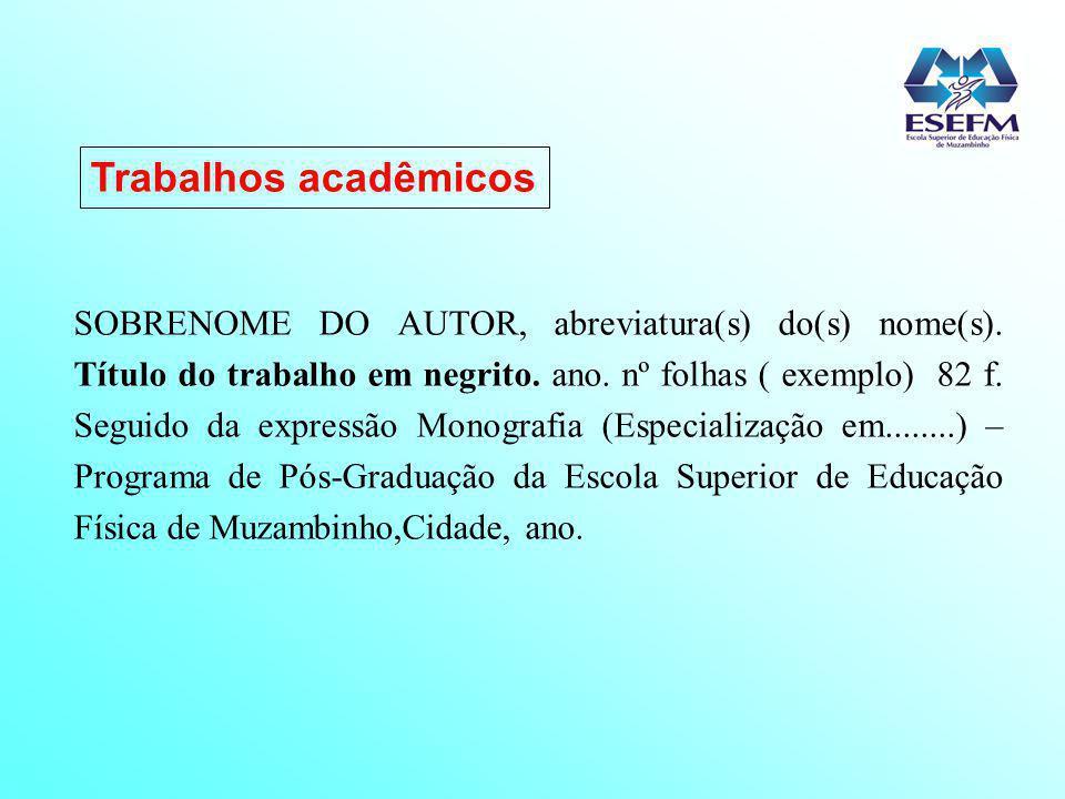 Trabalhos acadêmicos