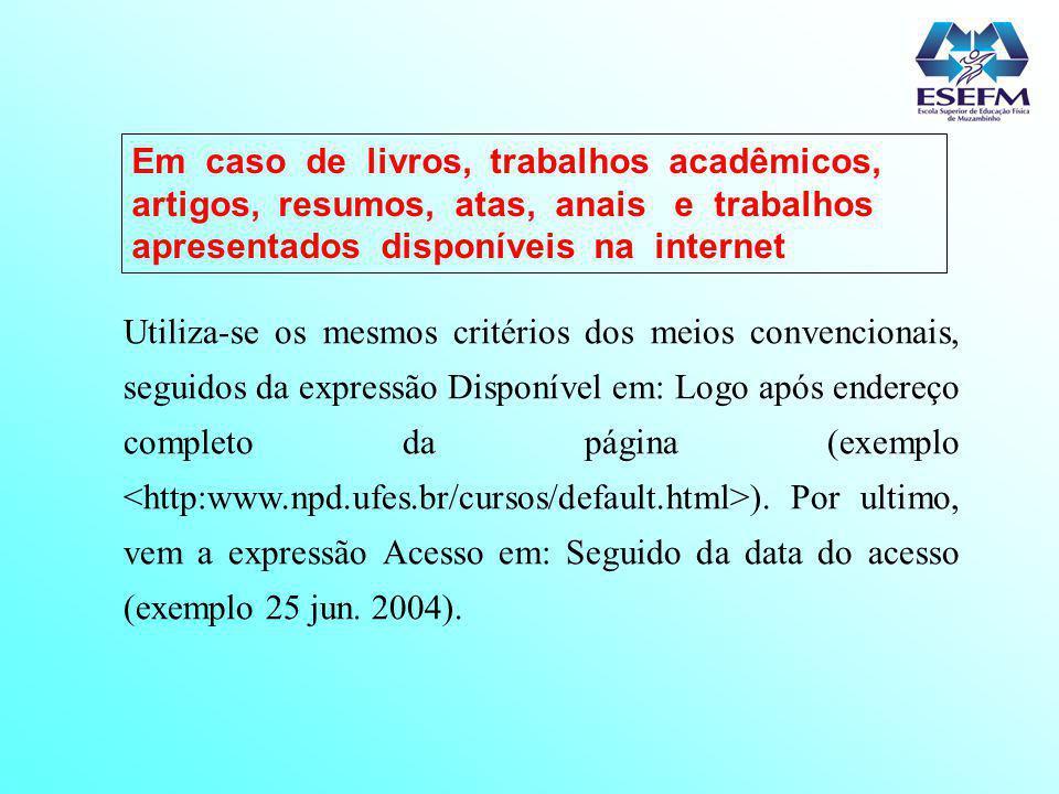 Em caso de livros, trabalhos acadêmicos, artigos, resumos, atas, anais e trabalhos apresentados disponíveis na internet