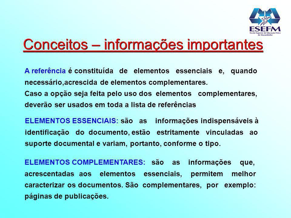 Conceitos – informações importantes
