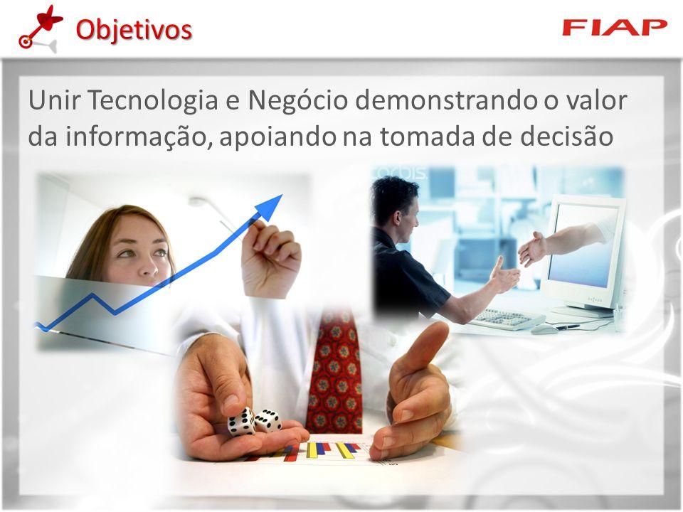Objetivos Unir Tecnologia e Negócio demonstrando o valor da informação, apoiando na tomada de decisão.