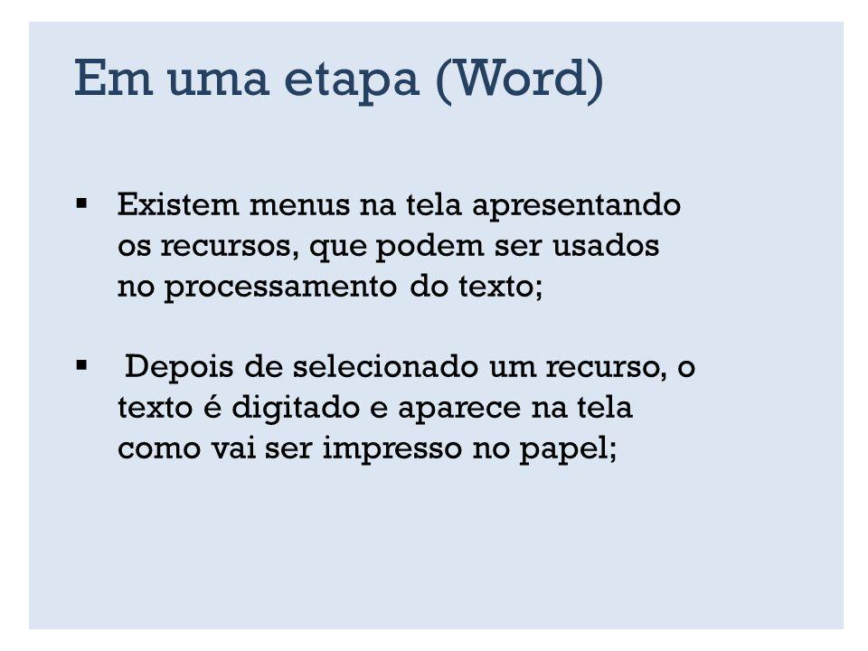 Em uma etapa (Word) Existem menus na tela apresentando os recursos, que podem ser usados no processamento do texto;