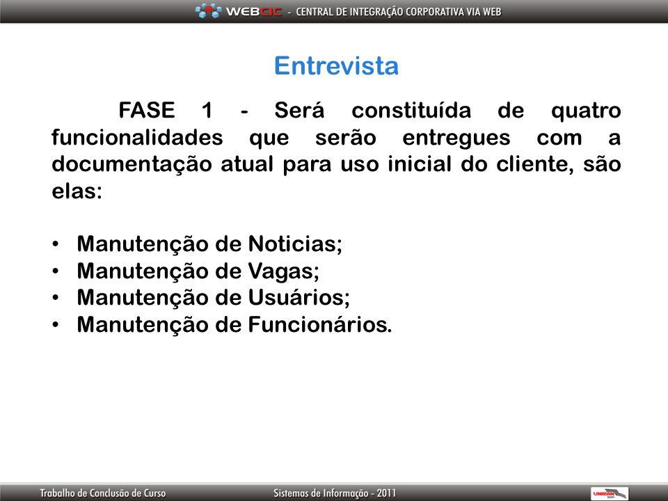 Entrevista FASE 1 - Será constituída de quatro funcionalidades que serão entregues com a documentação atual para uso inicial do cliente, são elas: