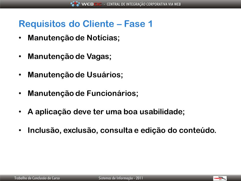 Requisitos do Cliente – Fase 1