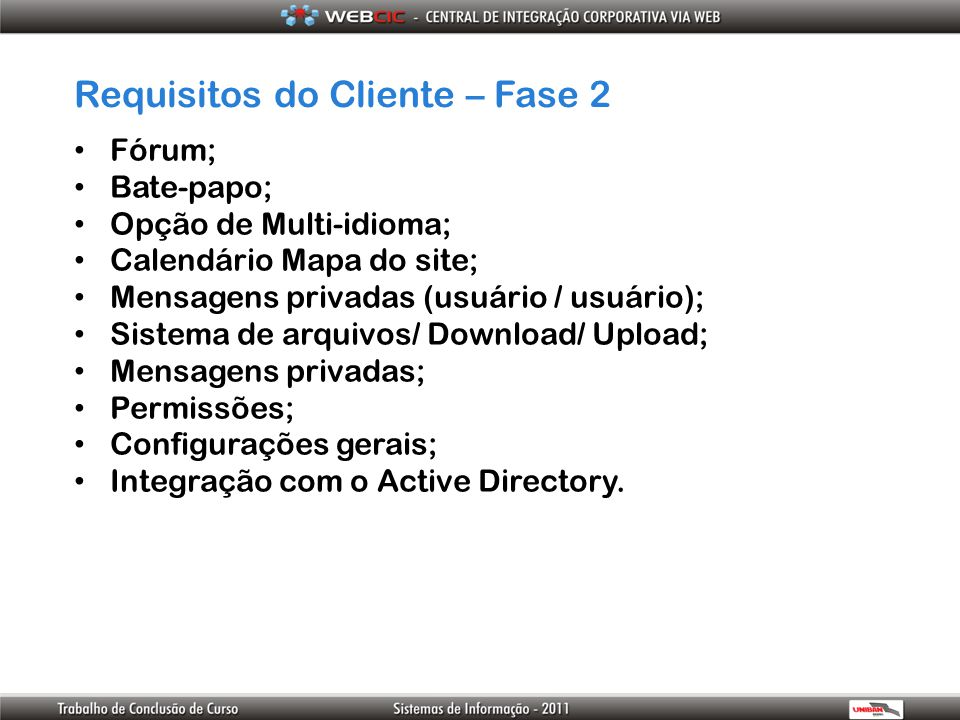 Requisitos do Cliente – Fase 2