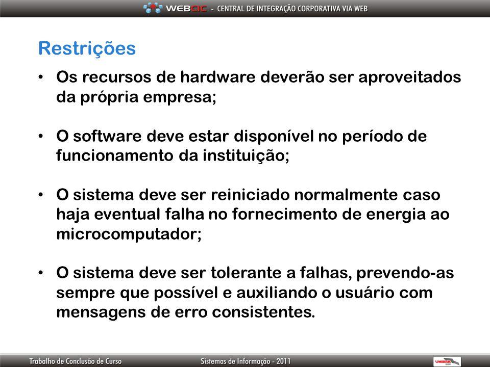 Restrições Os recursos de hardware deverão ser aproveitados da própria empresa;