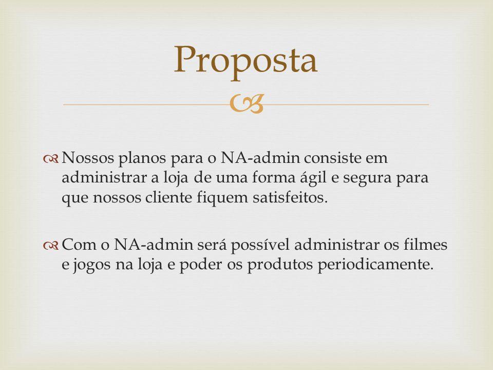 Proposta Nossos planos para o NA-admin consiste em administrar a loja de uma forma ágil e segura para que nossos cliente fiquem satisfeitos.