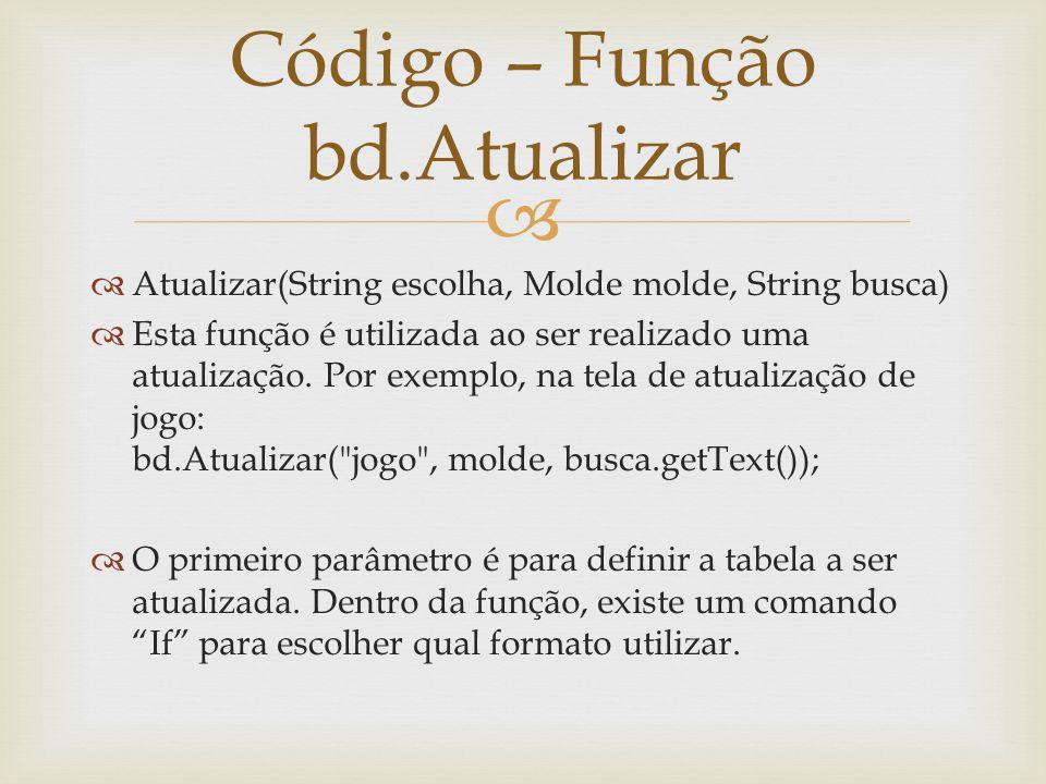 Código – Função bd.Atualizar