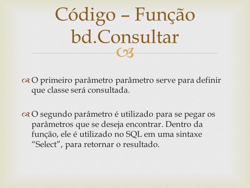 Código – Função bd.Consultar