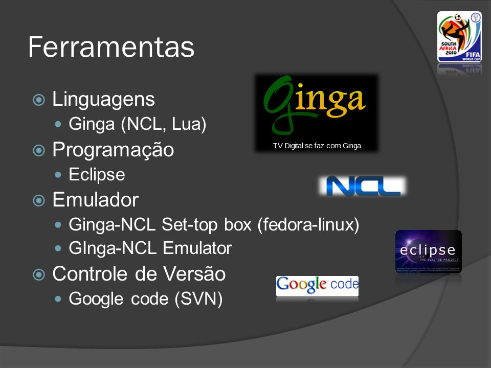 Ferramentas Linguagens Programação Emulador Controle de Versão