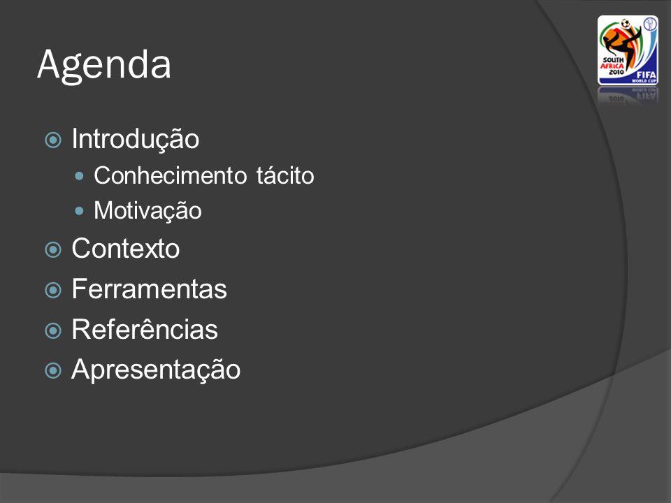Agenda Introdução Contexto Ferramentas Referências Apresentação
