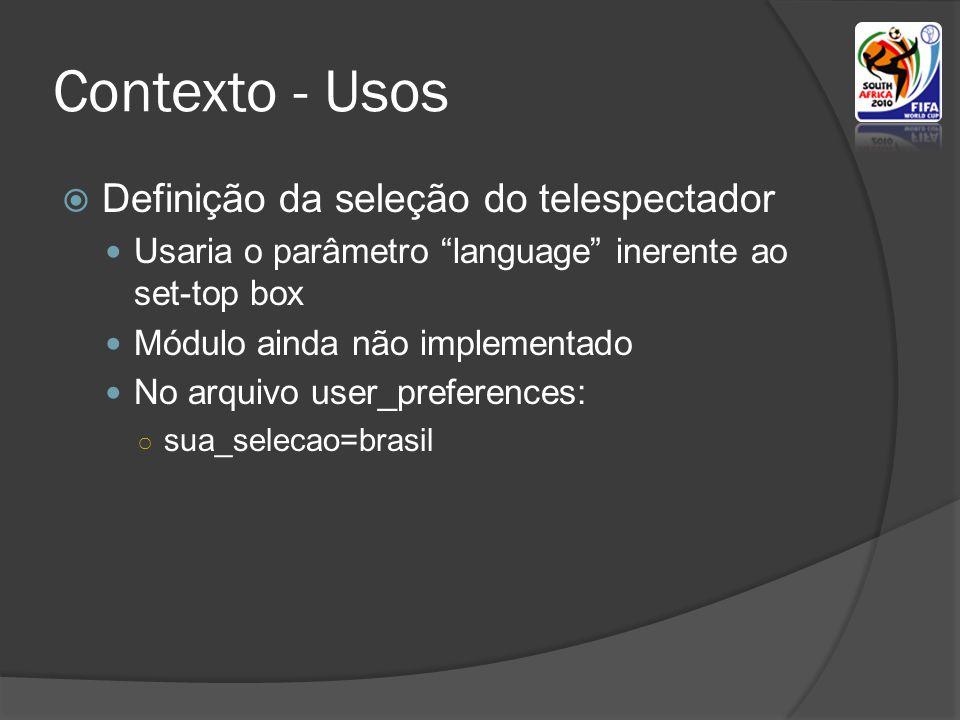 Contexto - Usos Definição da seleção do telespectador