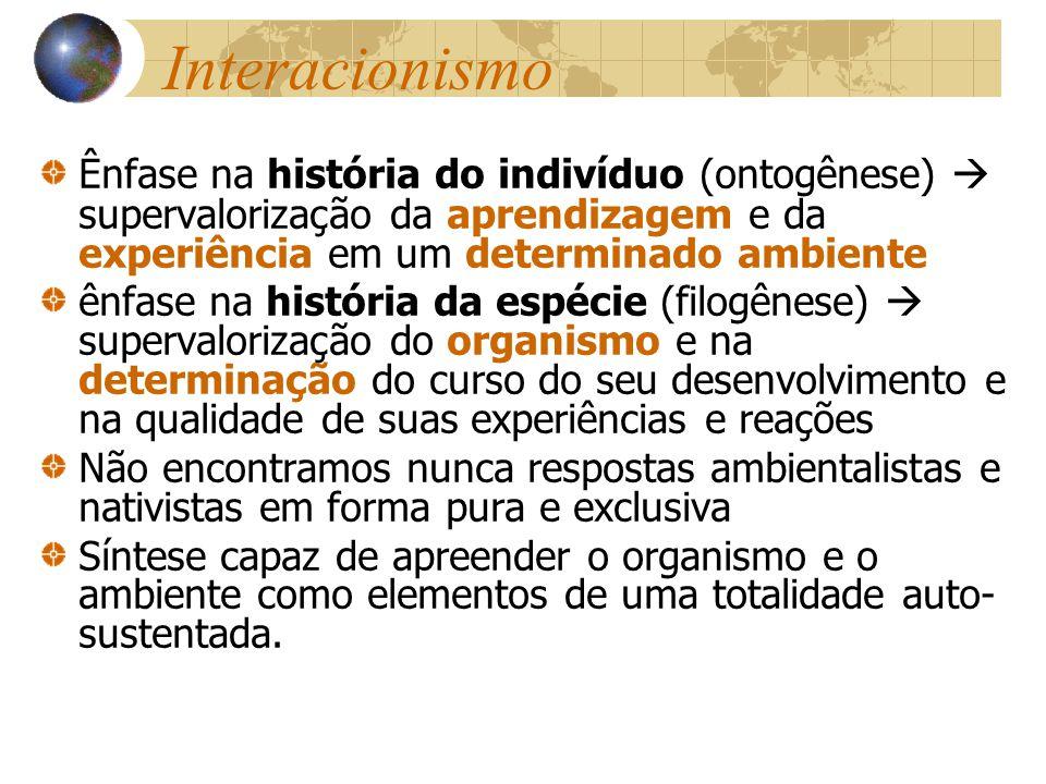 Interacionismo Ênfase na história do indivíduo (ontogênese)  supervalorização da aprendizagem e da experiência em um determinado ambiente.