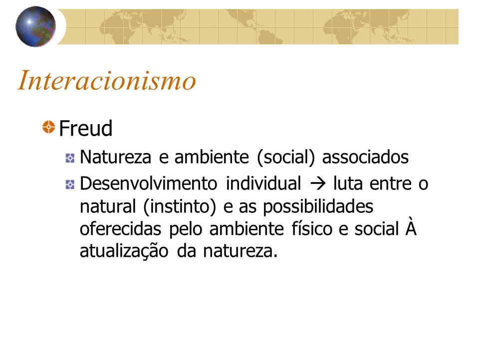 Interacionismo Freud Natureza e ambiente (social) associados