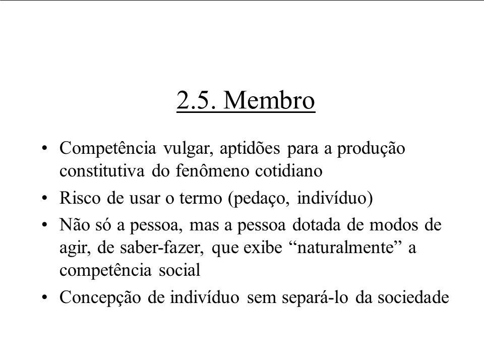 2.5. Membro Competência vulgar, aptidões para a produção constitutiva do fenômeno cotidiano. Risco de usar o termo (pedaço, indivíduo)